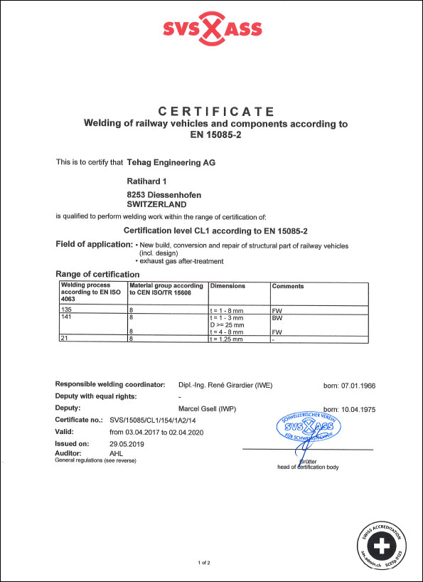 Quality and service: SVS Certificate - TEHAG Engineering AG
