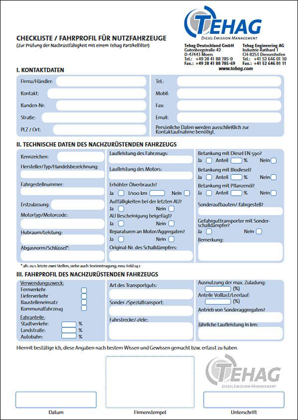 TEHAG / Checkliste Partikelfilter Onroad
