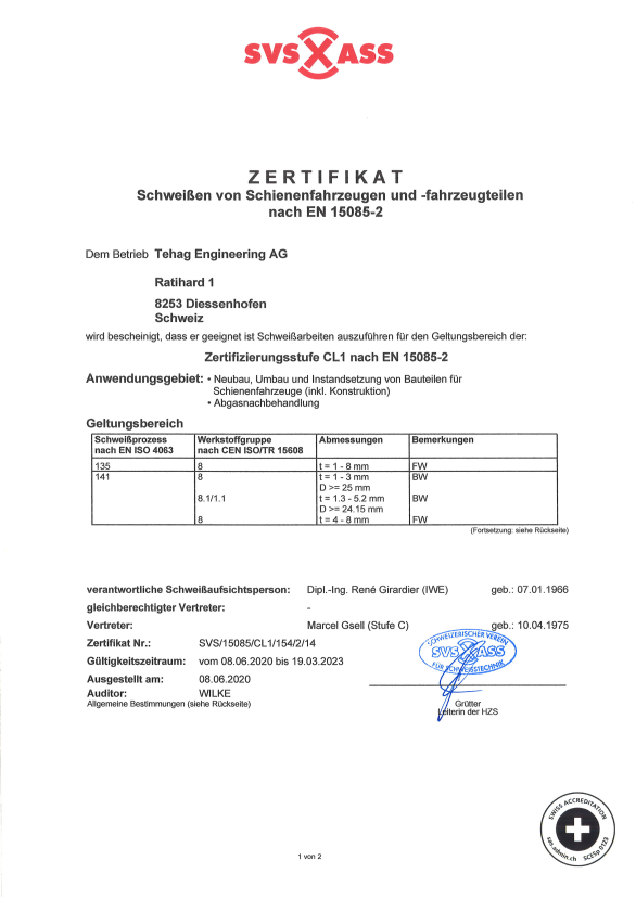 Qualität und Service: SVS-Zertifikat - TEHAG Engineering AG