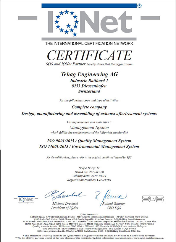 Quality and service: Certificate IQ-Net ISO 9001 - TEHAG Engineering AG