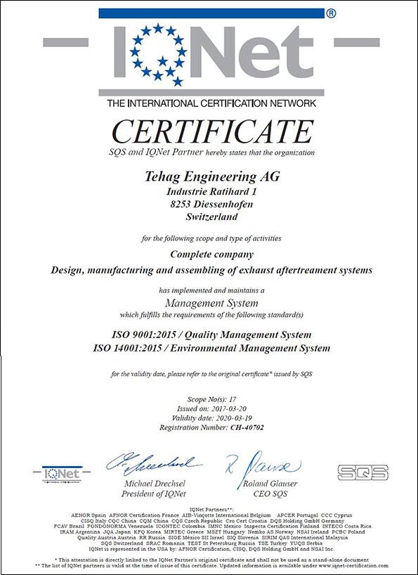 Qualité et service : Certificat IQ-Net ISO 9001 - TEHAG Engineering AG