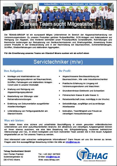 TEHAG-Stellenangebot Servicetechniker