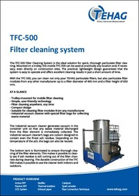 TFC-500 filter cleaning system data sheet