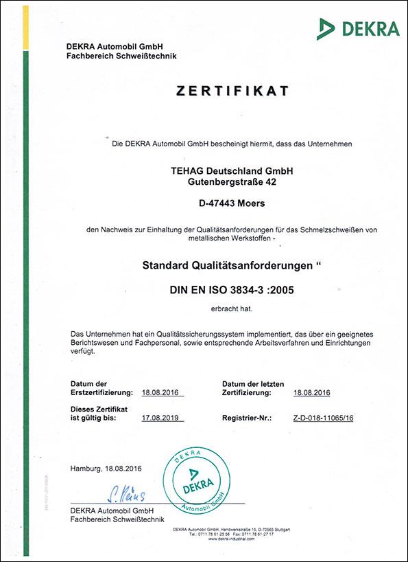 Qualité et service : Certificat DEKRA DIN-EN-3834-3 :2005 - TEHAG Deutschland GmbH