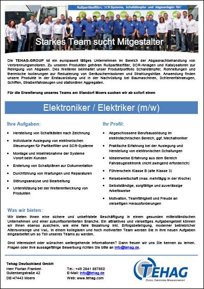 TEHAG Job opening electronic technician