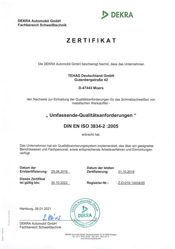 Qualität und Service: DIN-EN-3834--3-Zertifikat der DEKRA